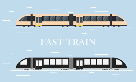intercity: Fast modern train. Design element for transport companies. The silhouette of a train. Of public transport. Flat style.  High-speed intercity transportation of passengers. Vector illustration.