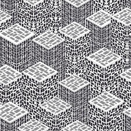 Ciudad abstracta en vista isométrica. Patrones sin fisuras con casas. Diferentes ventanas cuadradas. Fondo blanco y negro Horizonte de la ciudad moderna. Ilustración vectorial