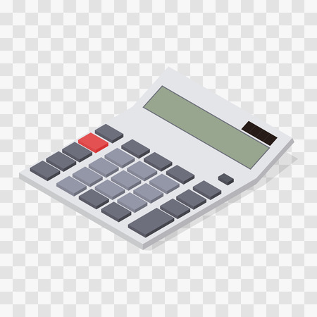 computing device: Calculator. Flat isometric. Blank buttons and display. Solar battery. Computing device. Web icon calculator. Assistant for the student. Vector illustration. Illustration