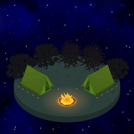 bonfire night: Two tents around the campfire. Flat isometric. Starry sky. Night bonfire. Camping. Weekend in the woods. Sleep in tents. Vector illustration. Illustration