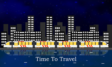 intercity: Speedy intercity train. The citys skyline. A passenger Train into a flat style. Night starry sky. The reflection in the river. Vertical panorama. Railroad Vector illustration template design.