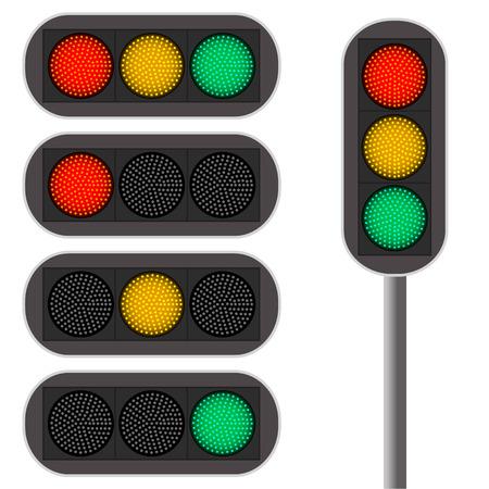 luz roja: Semáforo. retroiluminación LED. Color rojo. El movimiento continuado de la luz verde. Vehículos en la intersección. Las reglas de la carretera. Ilustración del vector.