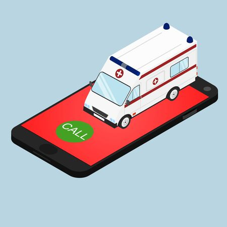 call for help: Ambulance in isometric view. Call the ambulance by phone. Call for help. Concept. Call doctor at home. Vector illustration.