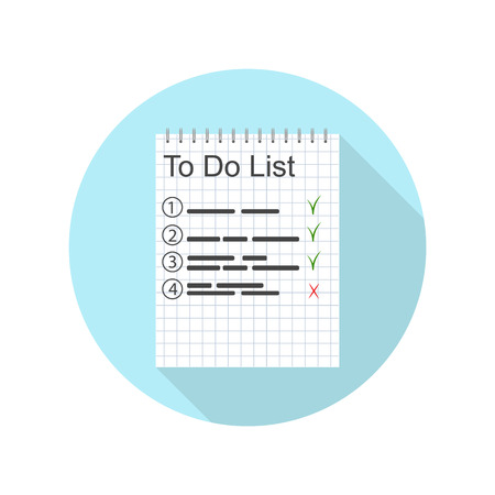 work task: To-do list for the day. A work plan. Important Entries in the notebook. Done. Icon design for time-management. The planning task. Vector illustration. Illustration