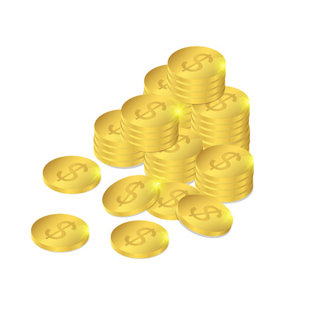foreign exchange: Gold coins in isometric. Foreign exchange savings. A treasure of gold money. A lot of money. The wealth and luxury. A realistic image. Vector illustration Illustration