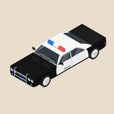 sedan: Police car. Black and white sedan. The patrol vehicle. Vector illustration.