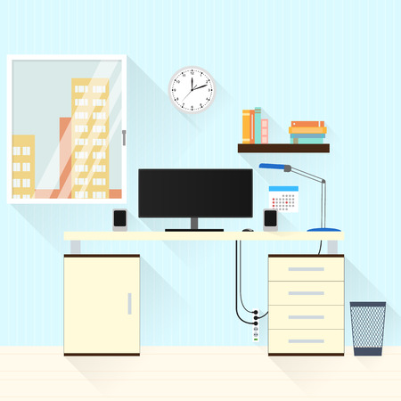 lamp window: Desk with lamp, window and computer at home. Business room freelancer. A flat style. Workplace. The interior of the home. The wooden table. Vector illustration. Illustration