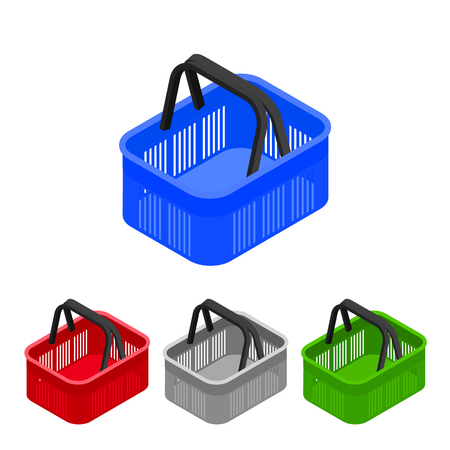 internet shopping: Shopping basket in supermarket and store. Flat isometric. Shopping cart icon for web shops. Vector illustration. Illustration