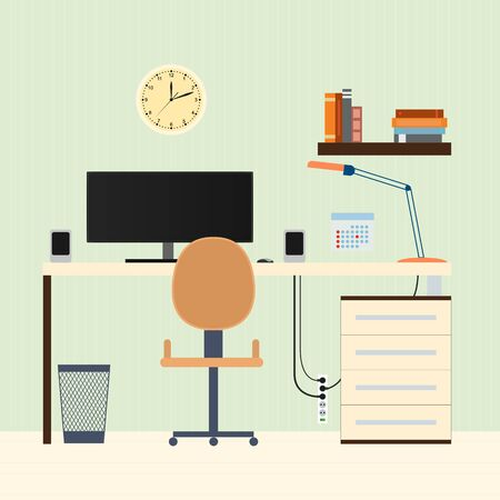 speakers desk: The home workplace. Flat style. Working space for freelancers. Workspace. The monitor on the table. Books on the shelf. The chair and table. The modern interior. Vector illustration. Illustration