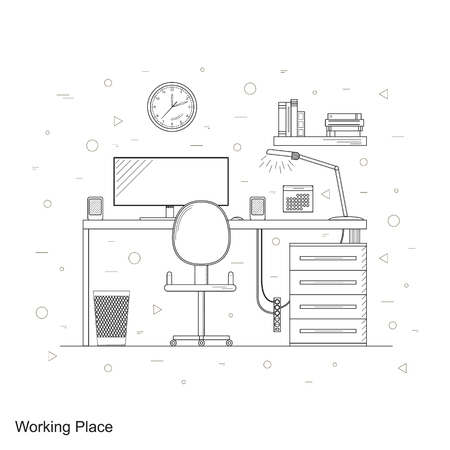 lamp window: Desk with lamp, window and computer at home. Business room freelancer. Linear style. Workplace. The interior of the home. The wooden table. Vector illustration. Illustration