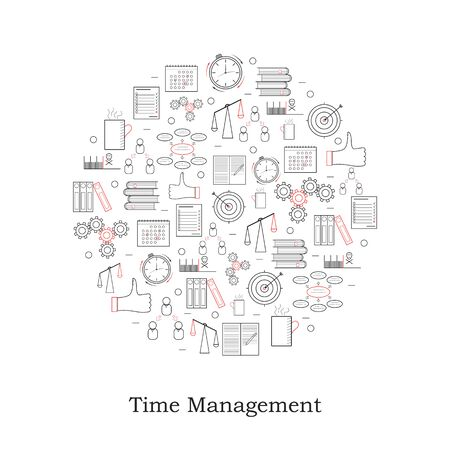 additional training: Cicle linear Time Management icon. How to achieve success in business. Design icons for your business. Vector illustration.