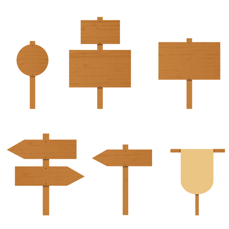 plywood: Set of wooden signs. A plywood Board. The direction arrow on the road. Place for ads. Rural Road sign. Wooden arrow pointer. Vector illustration.