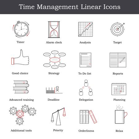 delegation: Set of linear Time Management icon. How to achieve success in business. Design icons for your business. Vector illustration. Illustration