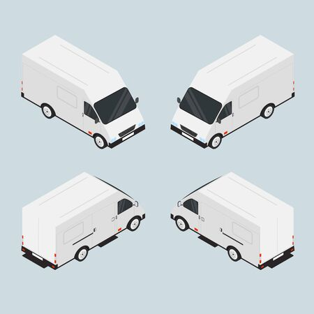 roomy: Van for the carriage of goods. The vehicle is white. Roomy car. The transport company. Car in isometric. Machine in miniature. Vector illustration.