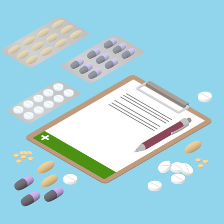antibiotics: Tablets of different shapes. Flat isometric. The prescription of antibiotics. Pills in the package. Medication. Pills and capsules. Vector Illustration.