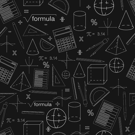 Math nahtlose schwarz Muster. Linearer Stil Kenntnisse in Mathematik und Geometrie. Die geometrischen Formen. Der Abakus und der Taschenrechner. Der Stift und der Bleistift. Konzept des Wissens. Vektor-Illustration.