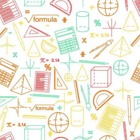 Math seamless white pattern. Linear style. Knowledge of math and geometry. The geometric shapes. The abacus and the calculator. The pen and pencil. Concept of knowledge. Vector illustration. Ilustração Vetorial