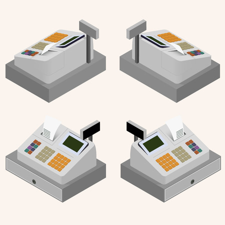 cash receipt: Cash register. Flat isometric. A cash register machine. Printing of cash receipt. Registration purchase. The circulation of money. Cash revenue. Vector illustration.