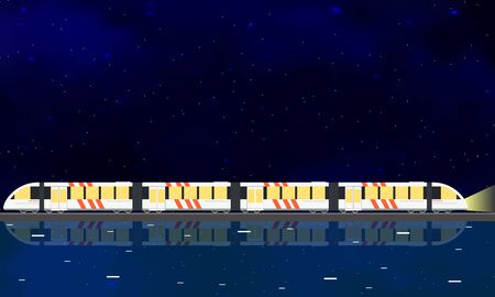the high speed train: Modern high speed train. Night starry sky. Flat style. The reflection in the water. Railway Bridge across the river. The journey by train. Vector illustration. Illustration