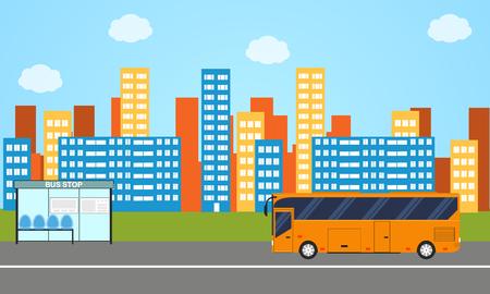 transporte terrestre: horizonte de la ciudad. El autobús público. stule plana. Parada de autobús. Transporte terrestre. La arquitectura moderna de los edificios. paisaje horizontal brillante. Ilustración del vector.