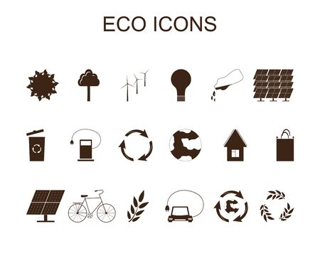 refueling: Set of eco icons. Brown symbols Save the planet. Conceptual ecological icons. Electric refueling. Wind energy. Waste recycling. Solar energy. Vector illustration.