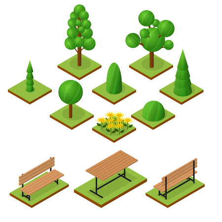 flower bed: Set of Trees and bushes in isometric view. Isometric wooden bench and table. The place to stay. Flower bed of sunflowers. The elements of the Park or garden. Vector illustration.
