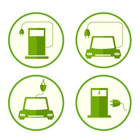Energie Kraftstoff-Symbole. Wohnung Stil. Sichere und umweltfreundliche Kraftstoffe. Die Ökologie des Planeten Symbole. Aufladen des Autos. Ein elektrischer Stecker. Tankstelle. Vektor-Illustration. Vektorgrafik
