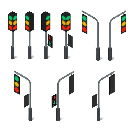 continued: Traffic light. Led backlight. Flat isometric. Pedestrian traffic light. Continued movement on the green light. Cars at the intersection. Urban element. The rules of the road. Vector illustration.