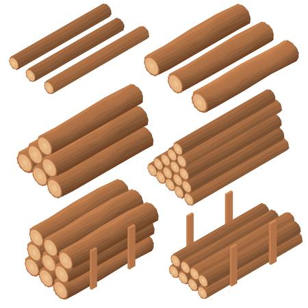 grumes en bois dans le isométrique. écorce brun de bois sec abattus. Marchés pour la construction. Logs pour allumer le four. Vector illustration.