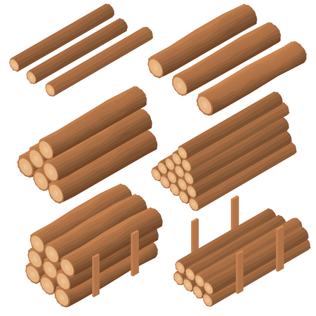 furnace: Wooden logs in the isometric. Brown bark of felled dry wood. Procurement for construction. Logs for kindling the furnace. Vector illustration.
