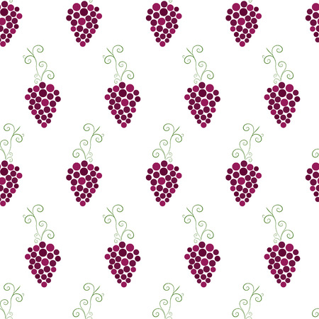 purple grapes: Bunches of grapes seamless pattern. Purple grapes. Fruit pattern. Ripe berries on a white background. The concept of winemaking. Wine template. Vector illustration.