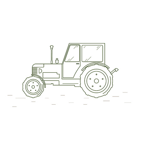 agricultural industry: Tractor web icon. Linear style. The outlines of the agricultural tractor. An agricultural industry. Vector illustration. Illustration