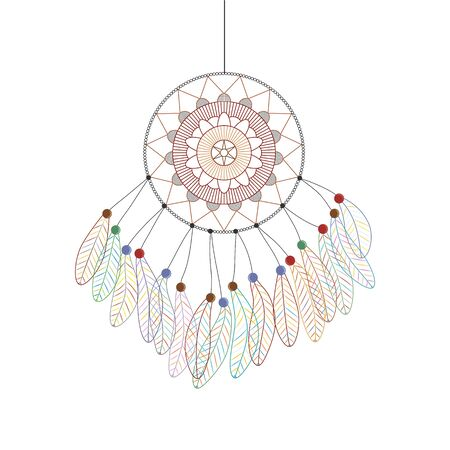 bohemia: Dreamcatcher. Linear style. Boho design. Multicolored feathers. Fashion accessory. Vector illustration.