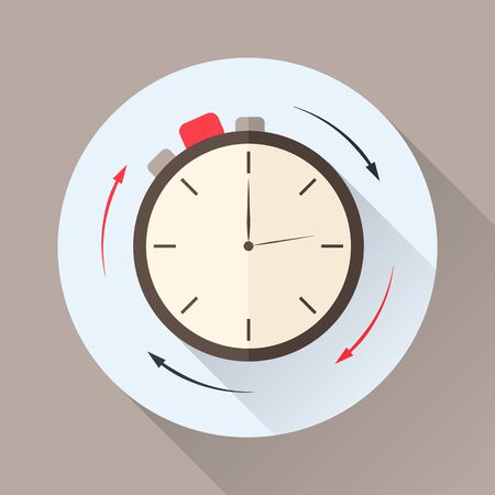 clockwise: Stopwatch in flat style with shadow. Countdown. The clockwise motion. Icon for business or time-management. Vector illustration.