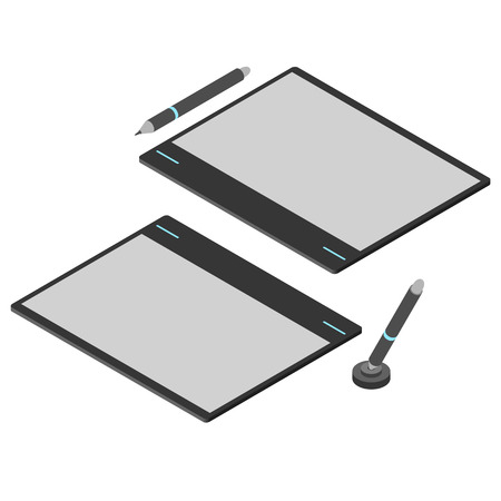 stylus: Graphics tablet. Flat isometric. Drawing tool for a computer. Pencil  stylus for digital painting. Vector illustration. Illustration