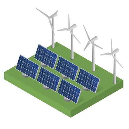 Wind turbine power. Isometric clean energy concept. Wind power. Blue Solar panels. Flat isometric. Modern alternative energy. Ecological energy.