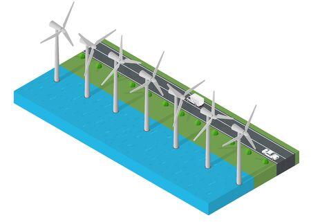 Windl Turbine Macht. Isometrisches sauberes Energiekonzept. Windstärke Vektor-Illustration.