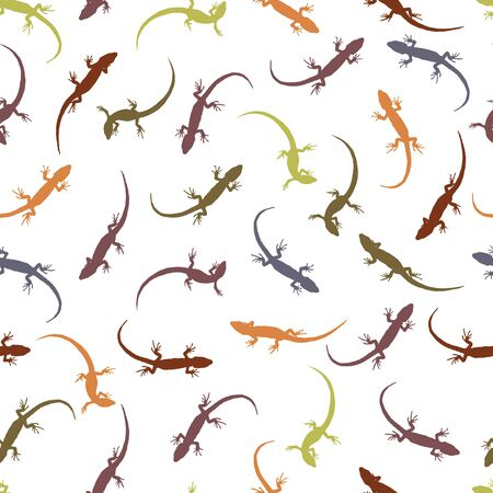 creep: Seamless pattern with lizards. Colorful silhouettes of reptiles on a light background. The outlines of the different lizards. Vector illustration.