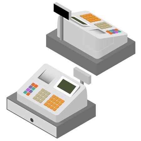 cash receipt: Cash register set. Flat isometric. Cash register machine. Printing of cash receipt. Registration purchase. The circulation of money. Cash revenue. Vector illustration.