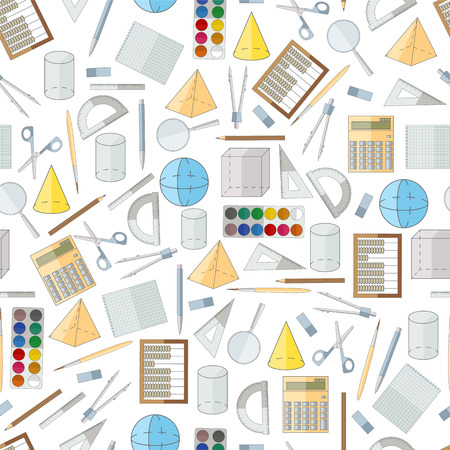 School seamless pattern. Flat icons. School stationery. Colored cover. Back to school design. Vector illustration. Stok Fotoğraf - 59848702