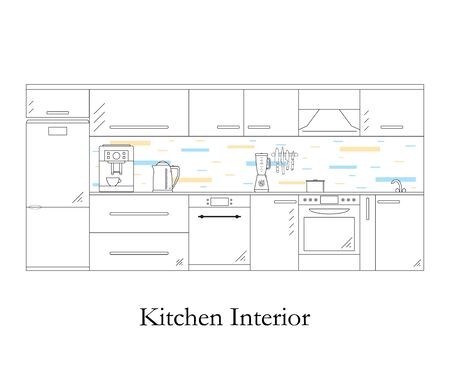 coffee blender: Interior of the kitchen. Linear style. White background. Kitchen design furniture and accessories. Coffee machine, electric kettle and blender. The pot on the stove. Dishwasher. Vector illustration.