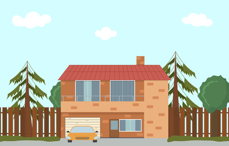 large house: Cottage in nature. Large house with garage. Flat style. House in the woods. Two-storey brick cottage. Vector illustration.