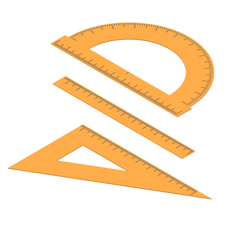 centimeters: Set of lines. Straight and angular ruler and protractor. Tool for measuring length in the isometric. Centimeters, millimeters and degrees. Stationery Orange color. Vector illustration. Illustration
