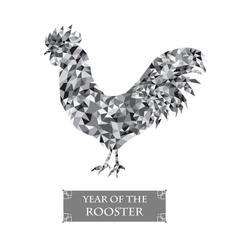 shape triangle: Rooster silhouette. Polygon cock. Symbol 2017 New Year. Grey bird icon. Holiday greeting card design. Isolated on white background. Black and white style. Vector illustration.