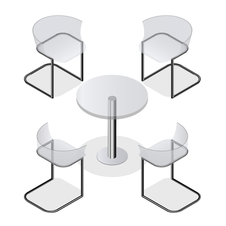 round chairs: Set of transparent isometric chairs and a round table for the kitchen interior, room, cafe or restaurant. Modern fashion design. Isolated on white background. Vector illustration.