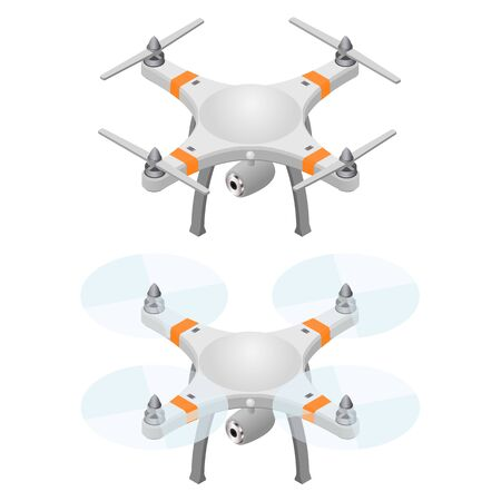 recording: Flying drone in isometric view.  Modern flying helicopter toy with video recording function. Isolated on white background. Vector illustration.