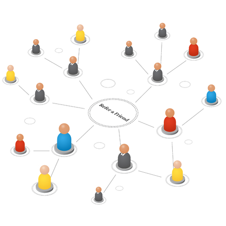 Refer a friend. Concept of referrals and followers on the Internet and business. Isometric abstract group of people. Teamwork icons. Successful leader and Manager. Vector illustration. Illustration