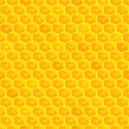 Honeycomb seamless pattern. Bright Golden sun background. Honey-apiary. Bee work. Helthy natural product. Vector illustration. Stock Illustratie