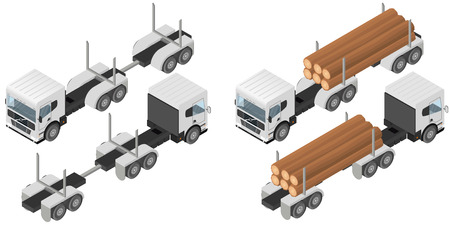 logging: Logging truck in isometric. A bunch of logs in the body of the white vehicle. The industry of construction. Deforestation. Forest cutting. Cargo transport. Vector illustration.