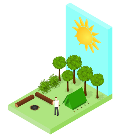 logs: Campsite in the woods. Tent and logs around the campfire. Forest landscape. Isometric style. Tourist on vacation. Vector illustration.
